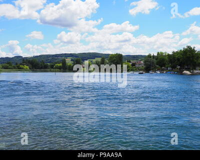 Beautiful landscapes of european STEIN am RHEIN town in SWITZERLAND and alpine Rhine River in swiss canton of Schaffhausen with medieval buildings, cl - Stock Photo