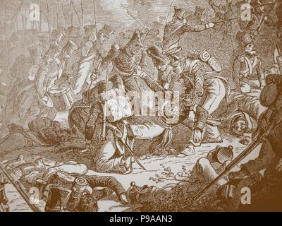 Death of General Gudin at the Battle of Valutino. Museum: Russian State Library, Moscow. - Stock Photo