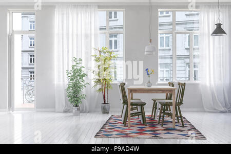 Modern dining room with wooden table and chairs on top of patterned rug over white hardwood floor and window in background. 3d Rendering - Stock Photo
