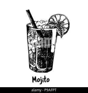 Hand drawn sketch style Mojito cocktail isolated on white background. Vector illustration. - Stock Photo