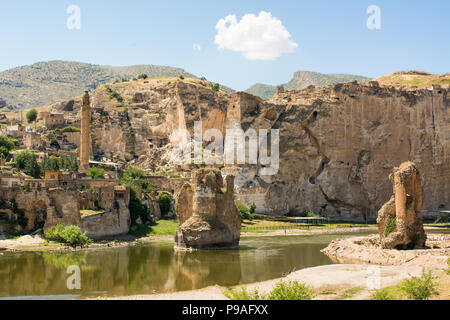 Hasankeyf is an ancient town and district located along the Tigris River in the Batman Province in southeastern Turkey - Stock Photo
