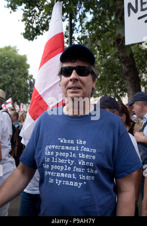 The far-right 'Football Lads Alliance' Pro-Trump and Free Tommy Robinson held a protest with thousands of supporters in central London 14 July 2018 - Stock Photo