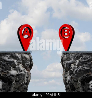 Point a to b location roadmap and gps navigator pin connection map destination challenge as a business metaphor concept with 3d rendered elements. - Stock Photo