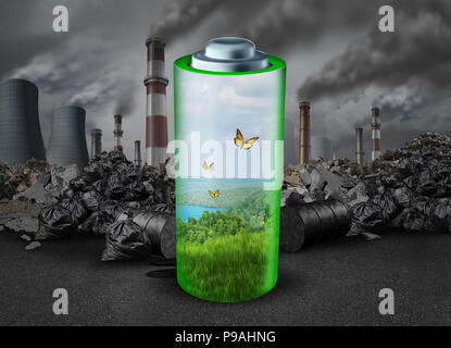 Electric battery concept and electrical energy rechargeable power source as a green fuel helping the environment from old dirty polluting industry. - Stock Photo