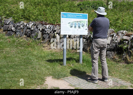 Tourist reading the information board at Drombeg Stone Circle in County Cork - Stock Photo