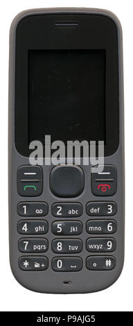 Old used mobile phone isolated on white - Stock Photo