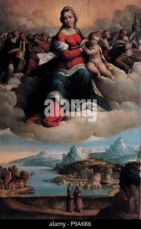Madonna and Child in glory with the saints Anthony of Padua and Francis. Museum: Musei Capitolini, Rome. - Stock Photo