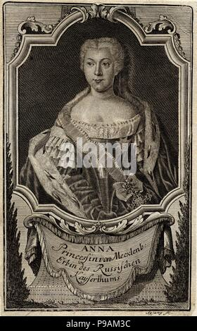 Portrait of Princess Anna Leopoldovna (1718-1746), tsar's Ivan VI mother. Museum: State History Museum, Moscow. - Stock Photo