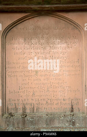 Inscription on gravestone Kirkpatrick church Irongray Kirkcudbright Castle Douglas Dumfries and Galloway Scotland - Stock Photo