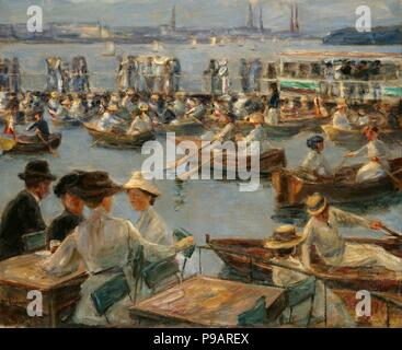 On the Alster in Hamburg. Museum: Dresden State Art Collections. - Stock Photo