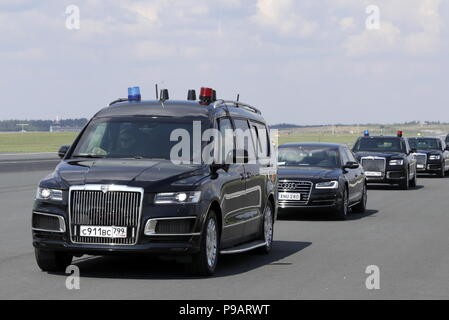 Helsinki, Finland. 16th July, 2018. HELSINKI, FINLAND - JULY 16, 2018: An Aurus Arsenal minivan of the Project Kortezh, part of the motorcade of Russian President Vladimir Putin, at Helsinki Airport. Mikhail Metzel/TASS Credit: ITAR-TASS News Agency/Alamy Live News - Stock Photo