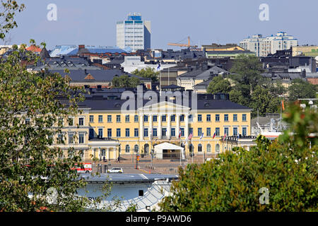 Helsinki, Finland. July 16, 2018. The Presidential Palace in Helsinki seen from Tähtitorninmäki during the US and Russian Presidents' historic Helsinki2018 meeting. Credit: Taina Sohlman/Alamy Live News - Stock Photo