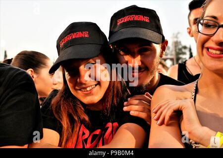 Athens, Greece. 16th July, 2018. Fans of Scorpions pose during the 'Crazy World Tour' concert at Kalimarmaro Stadium in Athens. Credit: Eleni Paroglou/SOPA Images/ZUMA Wire/Alamy Live News - Stock Photo