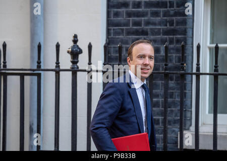 London, UK. 17th July 2018, ,Matt Hancock, Health Secretary arrives at Cabinet meeting at 10 Downing Street, London, UK. Credit Ian Davidson/Alamy Live News - Stock Photo