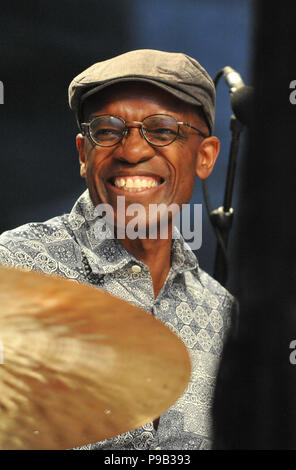 Brno, Czech Republic. 16th July, 2018. Drummer RUDY ROYSTON performs during the concert of Bill Frisell within Bohemia Jazz Fest in Brno, Czech Republic, July 16, 2018. Credit: Igor Zehl/CTK Photo/Alamy Live News - Stock Photo