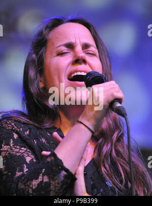 Brno, Czech Republic. 16th July, 2018. Singer PETRA HADENOVA performs during the concert of Bill Frisell within Bohemia Jazz Fest in Brno, Czech Republic, July 16, 2018. Credit: Igor Zehl/CTK Photo/Alamy Live News - Stock Photo