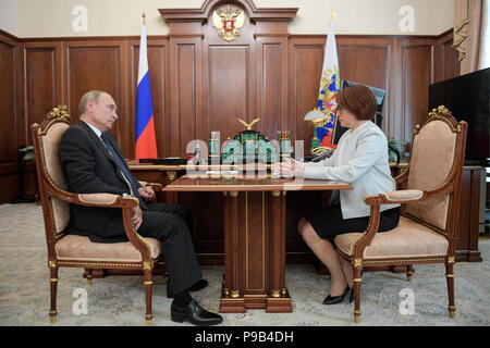 Moscow, Russia. 17th July, 2018. MOSCOW, RUSSIA - JULY 17, 2018: Russia's President Vladimir Putin (L) and Central Bank Governor Elvira Nabiullina during a meeting at the Moscow Kremlin. Alexei Druzhinin/Russian Presidential Press and Information Office/TASS Credit: ITAR-TASS News Agency/Alamy Live News - Stock Photo