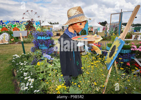 Tatton Park, Cheshire, UK. 17th July 2018. One of the school garden exhibits at the RHS Tatton flower show which opens on Wednesday.  'Inspired by Vincent Van Gogh' by St James' Church of England Primary School Credit: Simon Maycock/Alamy Live News - Stock Photo