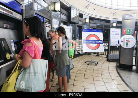London UK. 17th July 2018 . Southgate underground station on the Piccadilly line in in North London has been renamed temporarily Gareth Southgate in tribute to the England football manager who guided the England football national team to the Semi-Finals of the World Cup in Russia Credit: amer ghazzal/Alamy Live News - Stock Photo