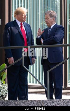 U.S. President Donald Trump, left, and Finnish President Sauli Niinisto at the Mantyniemi Residence July 16, 2018 in Helsinki, Finland. - Stock Photo