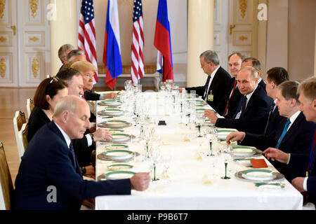 Beijing, Finland. 16th July, 2018. The U.S. and Russian delegations have working lunch in Helsinki, Finland, on July 16, 2018. Credit: Lehtikuva/Heikki Saukkomaa/Xinhua/Alamy Live News - Stock Photo