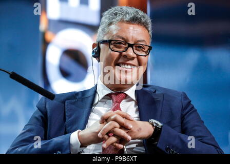 Moscow, Russia. 17th July, 2018. MOSCOW, RUSSIA - JULY 17, 2018: DMG Board Chairman and CEO Ayman Soliman attends a briefing titled 'City of Megaprojects - From Results to New Goals' as part of the 2018 Moscow Urban Forum in Moscow's Zaryadye Park. Mikhail Japaridze/TASS Credit: ITAR-TASS News Agency/Alamy Live News - Stock Photo