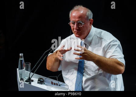 Moscow, Russia. 17th July, 2018. MOSCOW, RUSSIA - JULY 17, 2018: Maurice Leroy, Vice President of the French National Assembly, speaks at a briefing titled 'City of Megaprojects - From Results to New Goals' as part of the 2018 Moscow Urban Forum in Moscow's Zaryadye Park. Mikhail Japaridze/TASS Credit: ITAR-TASS News Agency/Alamy Live News - Stock Photo