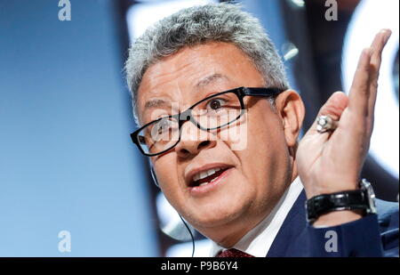 Moscow, Russia. 17th July, 2018. MOSCOW, RUSSIA - JULY 17, 2018: DMG Board Chairman and CEO Ayman Soliman speaks at a briefing titled 'City of Megaprojects - From Results to New Goals' as part of the 2018 Moscow Urban Forum in Moscow's Zaryadye Park. Mikhail Japaridze/TASS Credit: ITAR-TASS News Agency/Alamy Live News - Stock Photo