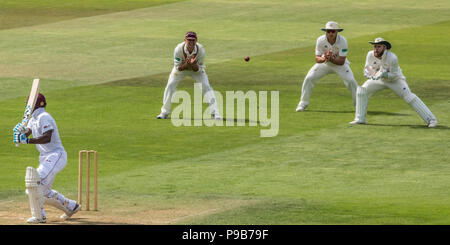 London,UK. 17 July, 2018.  Raymon Reifer can only watch as Stuart Meaker takesa a catch in the slips for Surrey against the West Indies A touring side at the Oval. David Rowe/Alamy Live News - Stock Photo