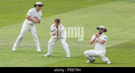 London,UK. 17 July, 2018.  Stuart Meaker takes a slip catch and Raymon Reifer is out playing for the West Indies A touring side against Surrey at the Oval. David Rowe/Alamy Live News - Stock Photo