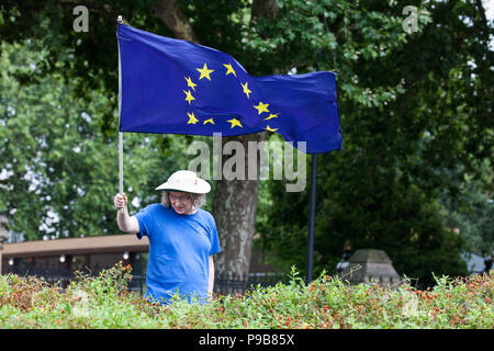 London, UK. 17th July, 2018. An anti-Brexit activist from SODEM (Stand of Defiance European Movement) stands on the perimeter of College Green in Westminster with a European Union flag. Credit: Mark Kerrison/Alamy Live News - Stock Photo