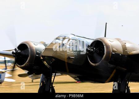 "Bristol Blenheim Mk1 ""Bremont"" with propellors turning. - Stock Photo"