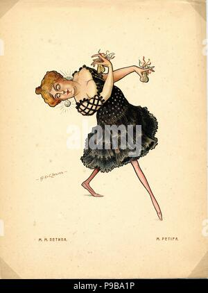 Ballet dancer Marie Petipa (From: Russian Ballet in Caricatures). Museum: PRIVATE COLLECTION. - Stock Photo