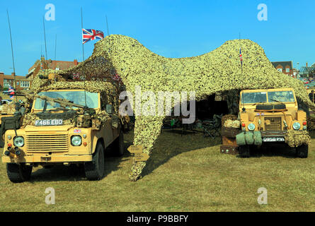 British Military Vehicles, jeep,armoured car, camouflage tent, 1980's vinatage, as used in Afghanistan War - Stock Photo