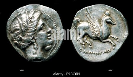 Drachma from Emporion. Obverse: Head of Persephone. Reverse: Pegasus. Museum: State Hermitage, St. Petersburg. - Stock Photo