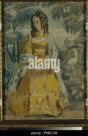 Lady by Tapestry. Portrait of Nadezhda Stanyukovich. Museum: State Tretyakov Gallery, Moscow. - Stock Photo