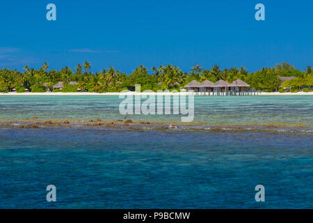 Fantastic tropical resort or hotel with luxury waster bungalow - Stock Photo