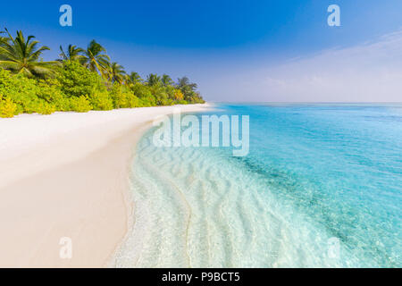 Beautiful beach with palm trees and moody sky. Summer vacation travel holiday background concept. Maldives paradise beach. Luxury summer  travel - Stock Photo