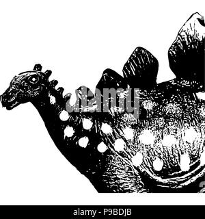 Black and white vector graphic of Stegosaurus side-on with only upper half drawn. - Stock Photo