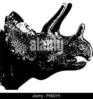 Black and white vector graphic of head of Triceratops side on. - Stock Photo