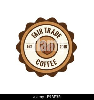 Fair Trade Coffee Emblem w Coffee Beans Seal - Brown and red - Stock Photo