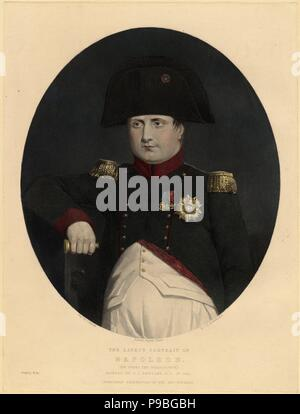 Latest portrait of Napoleon on board the Bellerophon. Museum: PRIVATE COLLECTION. - Stock Photo