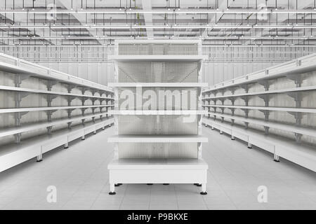 Supermarket aisle with empty shelves  3d render Stock Photo