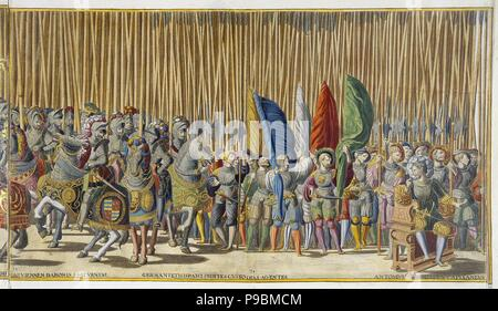 Ceremonial Procession in Bologna on the Occasion of Charles V's Coronation. Sheet 33-34. Museum: State Hermitage, St. Petersburg. - Stock Photo