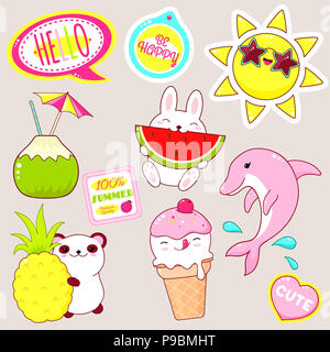 Set of cute icons in kawaii style. Bunny with watermelon, panda with pineapple, ice cream, candy, sun in sunglasses, sticker with inscription be happy - Stock Photo