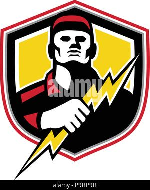 Mascot icon illustration of bust of a power lineman or electrician holding a thunderbolt or lightning bolt  viewed from front set inside crest or shie - Stock Photo