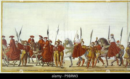 Ceremonial Procession in Bologna on the Occasion of Charles V's Coronation. Sheet 23-24. Museum: State Hermitage, St. Petersburg. - Stock Photo