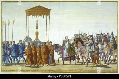Ceremonial Procession in Bologna on the Occasion of Charles V's Coronation. Sheet 17-18. Museum: State Hermitage, St. Petersburg. - Stock Photo