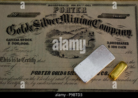 Authentic 1860s Porter Gold and Silver Mining Company stock certificate -  California. Genuine gold and silver bars also shown. - Stock Photo