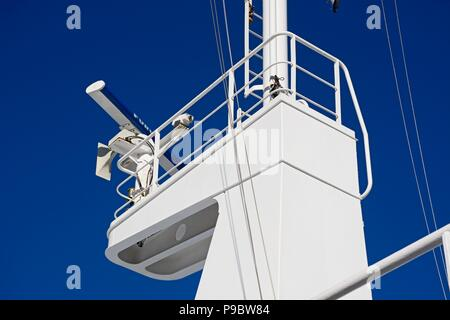 Radar housing on the mast of the Gozo Channel Line ferry, Malta, Europe. - Stock Photo